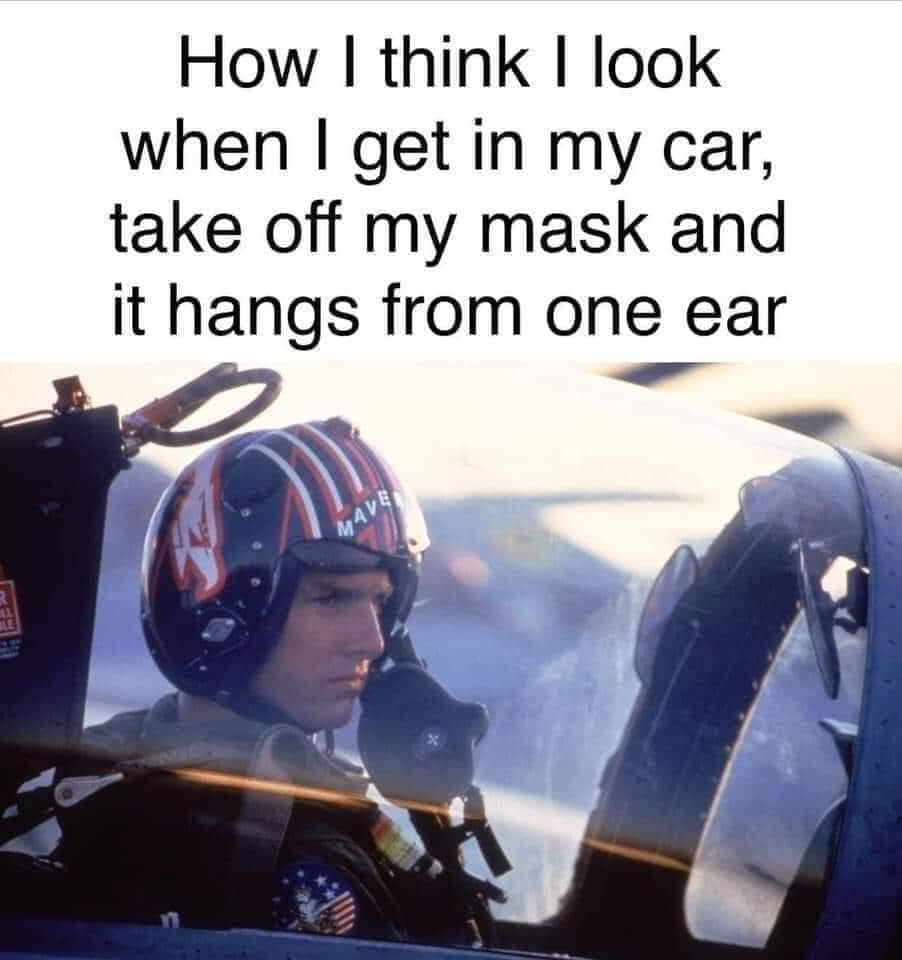 How I feel when I get in my car and take off my mask